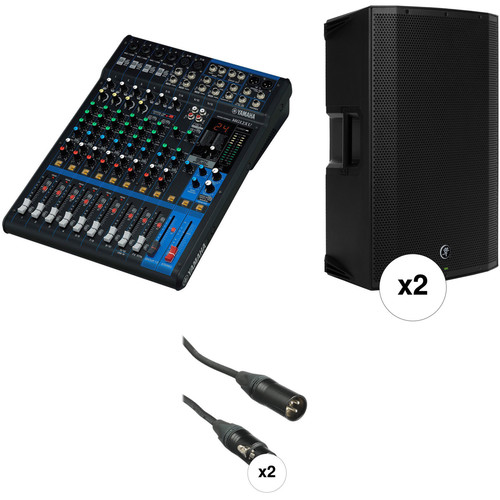 Yamaha MG12XU Mixer PA Kit with Two Mackie Thump15A Powered Speakers and Cables