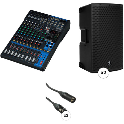 Yamaha MG12XU Mixer PA Kit with Two Mackie Thump12A Powered Speakers and Cables