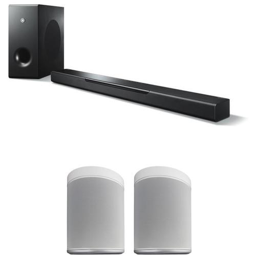Yamaha MusicCast BAR 400 Soundbar System and MusicCast 20 Wireless Speaker Pair Kit (Black Soundbar, White Wireless Speakers)