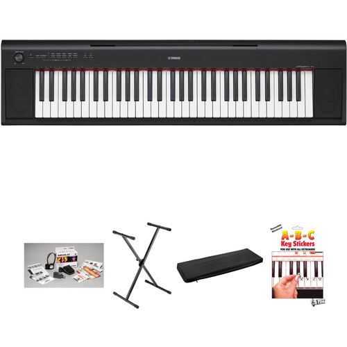 Yamaha NP-12 Piaggero Kit with Stand, Bench, Pedal, Power Adapter, Headphones (Black)