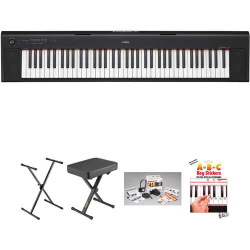Yamaha NP-32 Piaggero Digital Piano Kit with Stand, Bag, Survival Kit, and Batteries (Black)