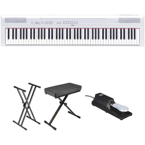 Yamaha P-115 Digital Piano Essentials Bundle (White)