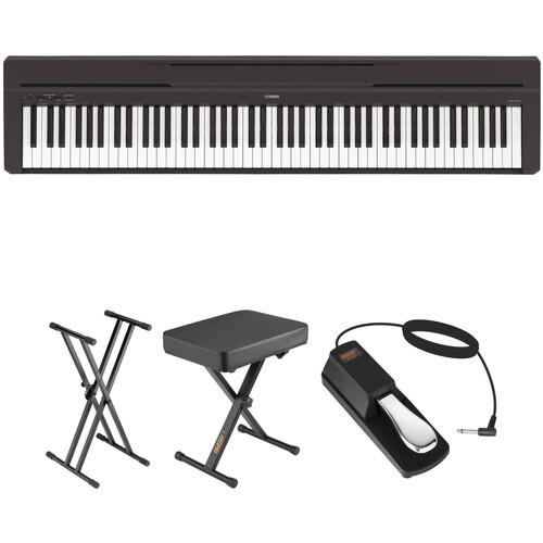 Yamaha P-45 Compact Portable Digital Piano Bundle (Black)