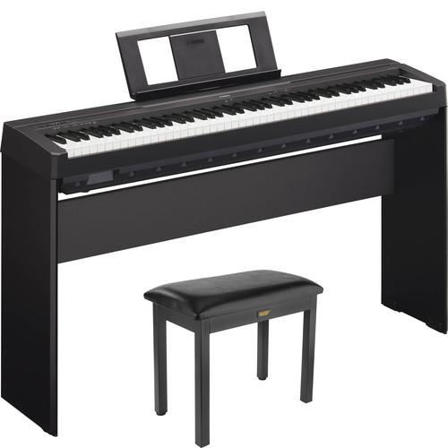 Yamaha P-45 Compact 88-Key Portable Digital Piano Kit with Stand and Bench