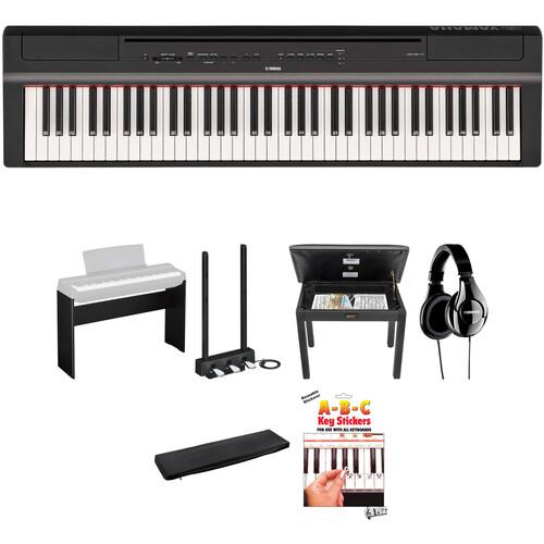 Yamaha P-121 73-Key Digital Piano Home/Studio Deluxe Kit (Black)