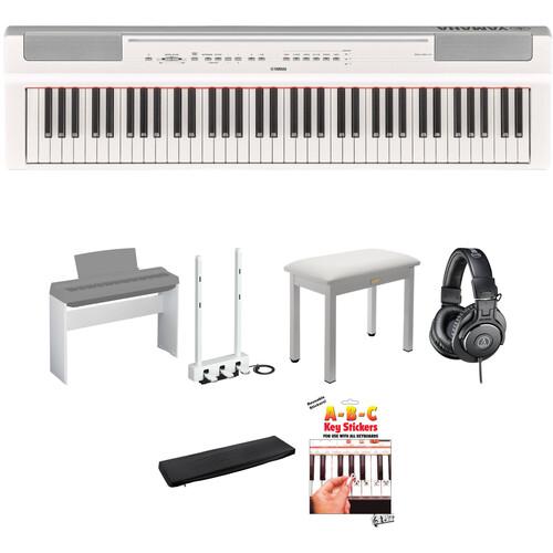 Yamaha P-121 73-Key Digital Piano Home/Studio Deluxe Kit (White)