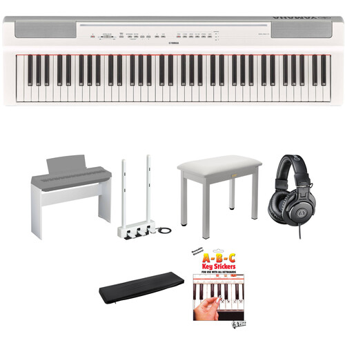 Yamaha P-121 73-Key Digital Piano Home/Studio Deluxe Kit (White)