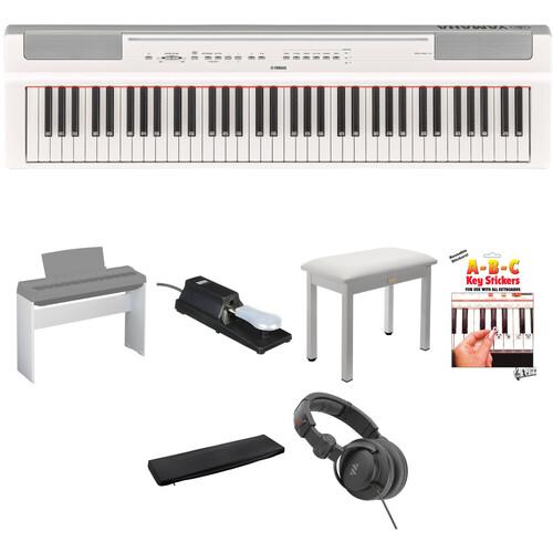 Yamaha P-121 73-Key Digital Piano Home/Studio Kit (White)