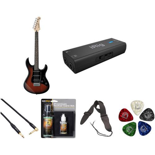 Yamaha Pacifica PAC012DLX Electric Guitar Home Recording Starter Kit (Old Violin Sunburst)
