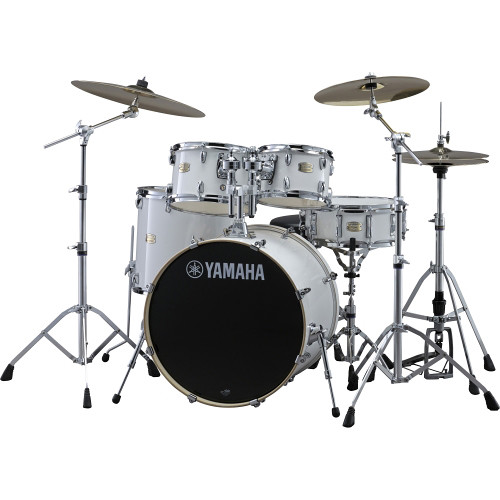 "Yamaha SBP2F5 Stage Custom Birch Acoustic 5-Piece Drum Set (22"" Bass Drum, Pure White)"