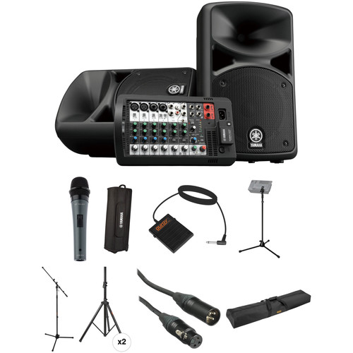 Yamaha STAGEPAS 400i PA Kit with Mic, Footswitch, Stands, Cases, and Cables