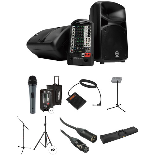 Yamaha STAGEPAS 600i PA Kit with Mic, Footswitch, Stands, Cases, and Cables
