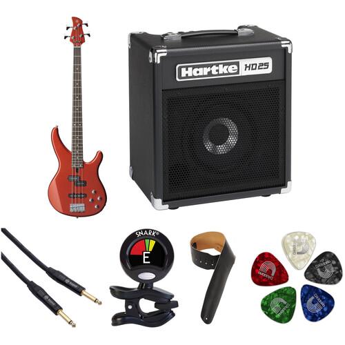 Yamaha TRBX204 Electric Bass Starter Kit (Bright Red Metallic)