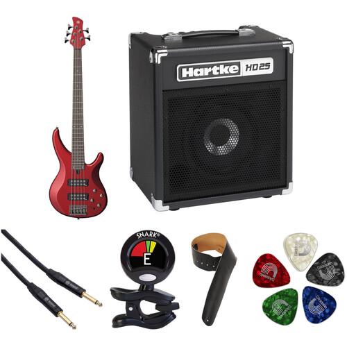 Yamaha TRBX305 5-String Electric Bass Starter Kit (Candy Apple Red)