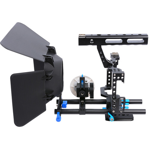YELANGU C500 Camera Cage with Matte Box and Follow Focus (Blue Trim)