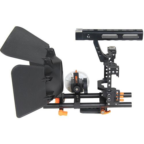 YELANGU C500 Camera Cage with Matte Box and Follow Focus (Orange Trim)