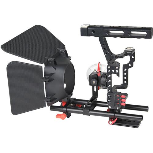 YELANGU C500 Camera Cage with Matte Box and Follow Focus (Red Trim)