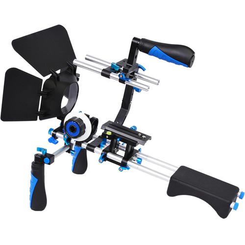 YELANGU Shoulder Rig for DSLR, Mirrorless, and DV Cameras (Blue Trim)