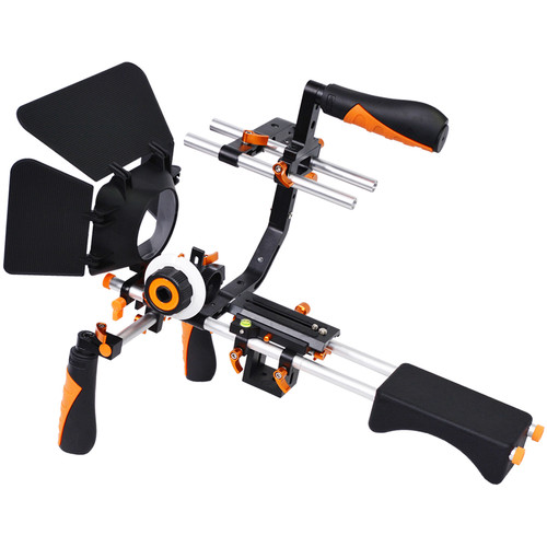 YELANGU Shoulder Rig for DSLR, Mirrorless, and DV Cameras (Orange Trim)