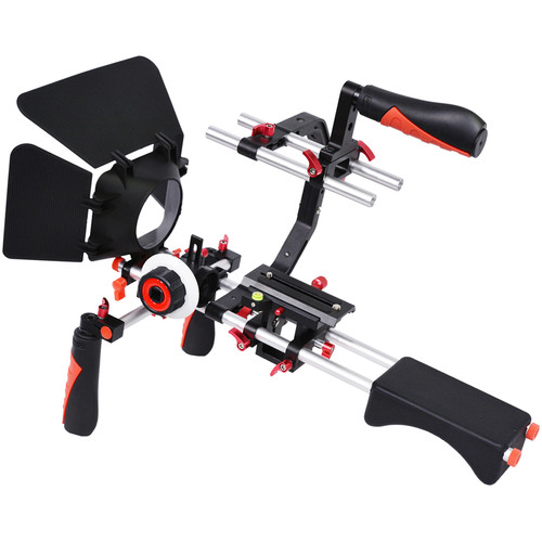 YELANGU Shoulder Rig for DSLR, Mirrorless, and DV Cameras (Red Trim)