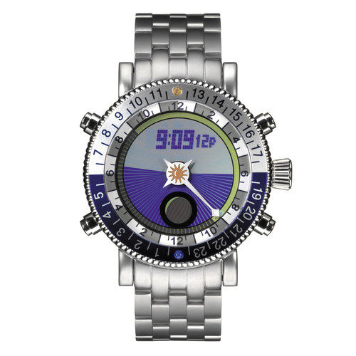 Yes Watch W406.4 WorldWatch II AM/PM Dial (Stainless Steel, Blue)