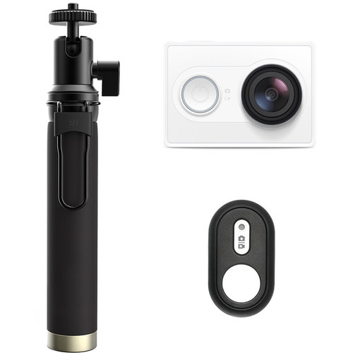 YI Technology Action Camera with Selfie Stick & Bluetooth Remote (White)