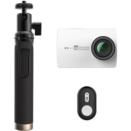YI Technology 4K Action Camera with Selfie Stick & Bluetooth Remote (White)