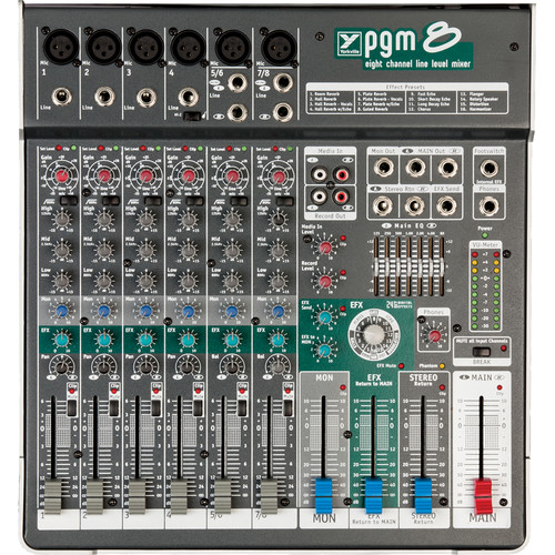 Yorkville Sound PGM8 Compact 8-Channel Live Sound Mixer with Built-In Digital Effects