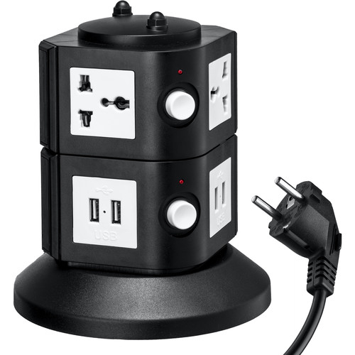 Yubi Power Power Tower with 4 Surge-Protected Universal Outlets and 8 USB Ports (EU Plug)