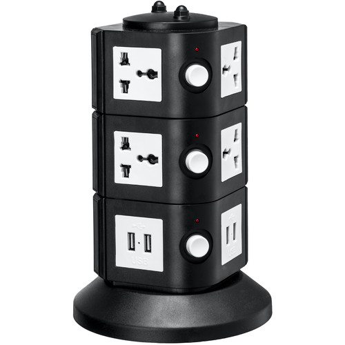 Yubi Power Power Tower with 8 Surge-Protected Universal Outlets and 8 USB Ports (USA Plug)