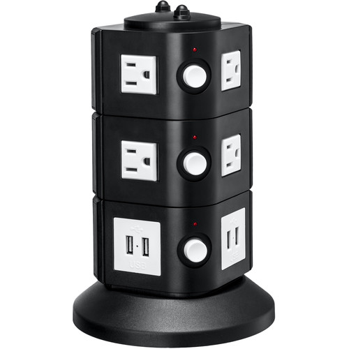 Yubi Power Power Tower with 8 Surge-Protected USA Outlets and 8 USB Ports (USA Plug)