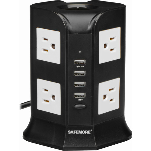 Yubi Power 8 US Outlets and 4-Port USB Charging Power Tower