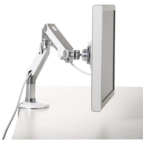 Humanscale M8 Monitor Arm with Clamp Mount (White/Chrome)