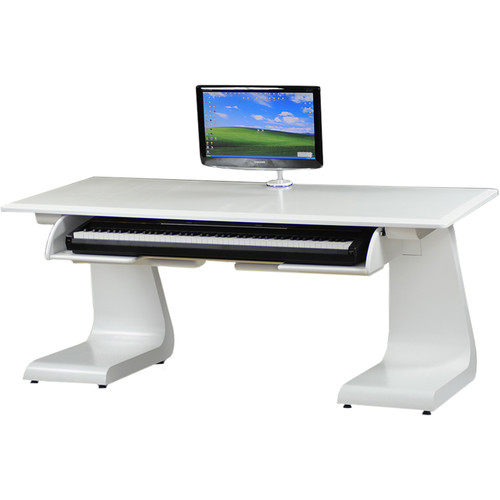 Zaor iDesk Key Workstation with Keyboard Drawer (White)