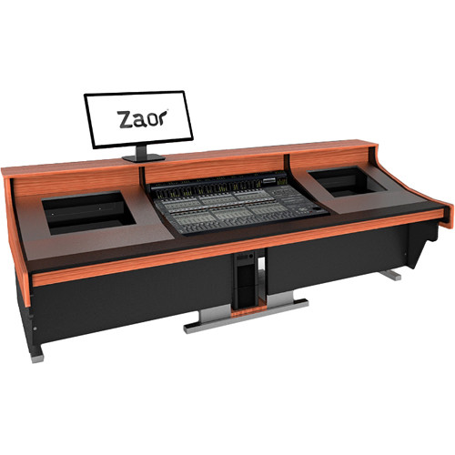 Zaor Felix Studio Desk with Dual 8 RU Rack Bays for Medium/Large Mixers (Cherry)