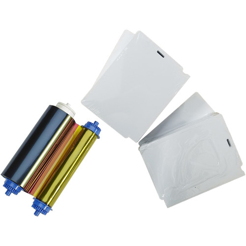 Zebra 400 PVC Cards with 1 Slot and YMCO Ribbon for ZC10L ID Card Printer