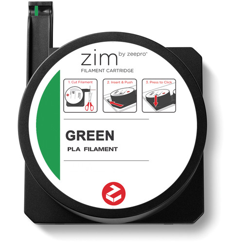Zeepro zim PLA Filament Cartridge (0.6 lb, Green)