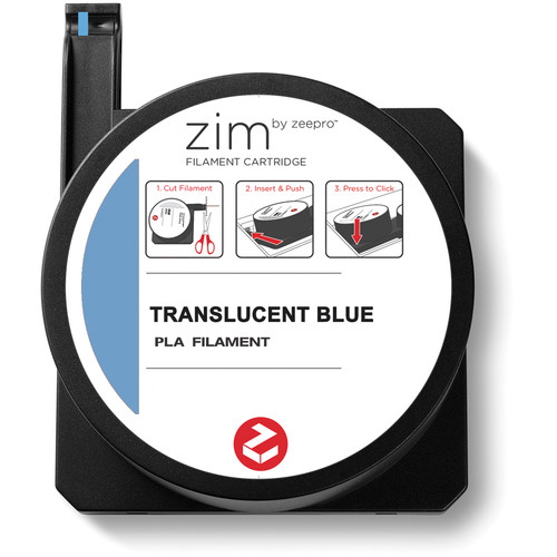 Zeepro zim PLA Filament Cartridge (0.6 lb, Translucent Blue)