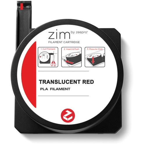 Zeepro zim PLA Filament Cartridge (0.6 lb, Translucent Red)