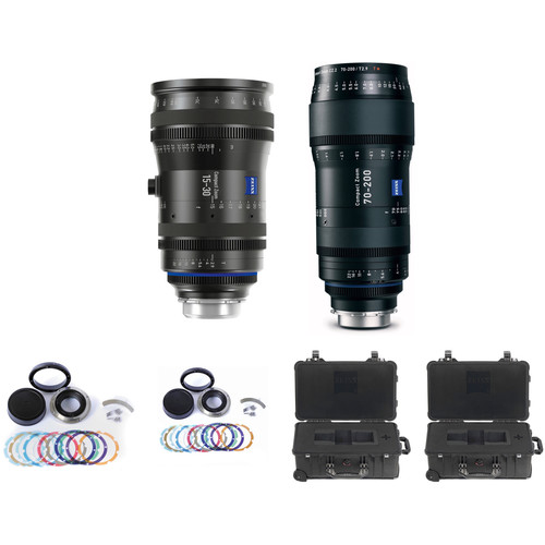 Zeiss CZ.2 Set #2 Two PL Mount Zoom Lens Bundle of 15-30 and 70-200 with Swappable Canon Mounts, Cases (Feet)