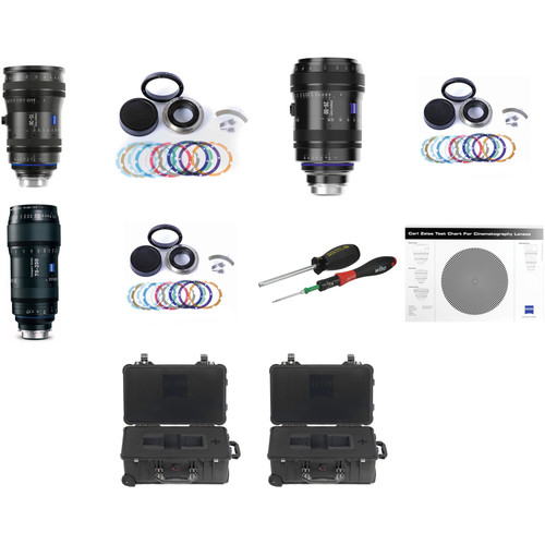 Zeiss CZ.2 PL Mount Zoom Lens Bundle with Swappable Canon Mounts, Cases, and Test Chart