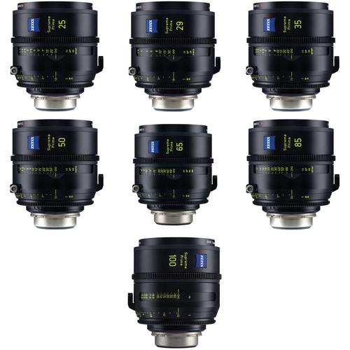 ZEISS Supreme Prime 7 Lens Kit of 25, 29, 35, 50, 65, 85, 100mm (Feet, PL Mount)