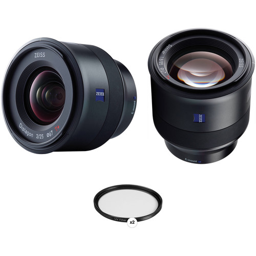 ZEISS Batis 25mm and 85mm Lens Kit with UV Filters for Sony E