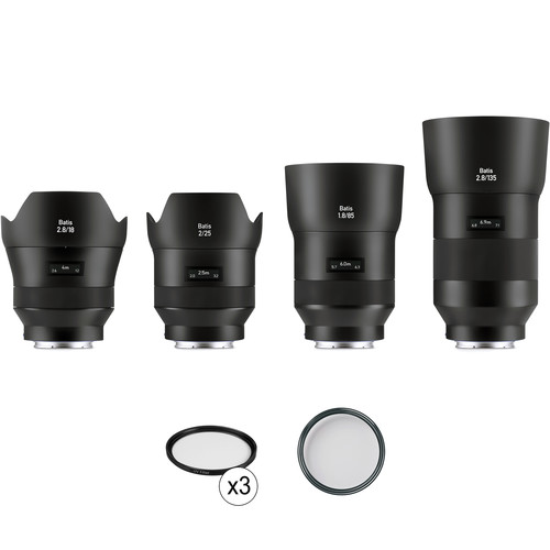 ZEISS Batis 4-Lens Kit with UV Filters for Sony E