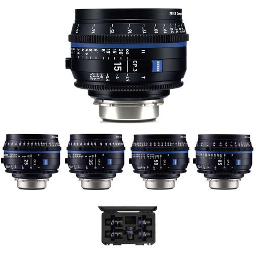 ZEISS CP.3 15, 25, 35, 50, 85mm Five Lens Kit (PL Mount, Feet)