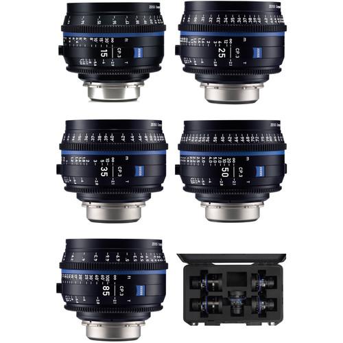 ZEISS CP.3 15, 25, 35, 50, 85mm Five Lens Kit (EF Mount, Feet)