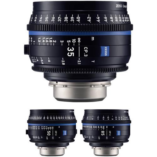ZEISS CP.3 35, 50, 85mm Three Lens Kit (EF Mount, Feet)