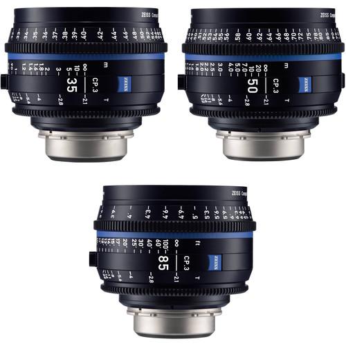 ZEISS CP.3 35, 50, 85mm Three Lens Kit (PL Mount, Feet)