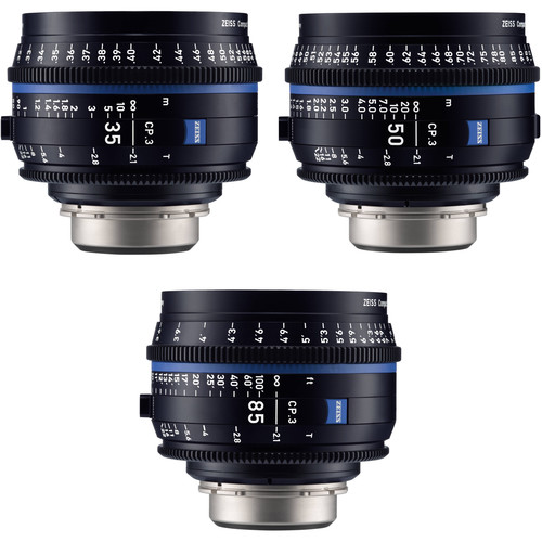 ZEISS CP.3 35, 50, 85mm Three Lens Kit (PL Mount, Feet)