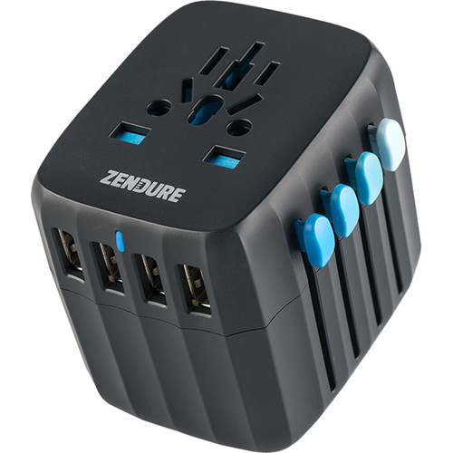 ZENDURE Passport Global Travel Plug Adapter with Auto-Resetting Fuse (Black)